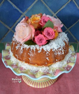 rose topped coconut bundt